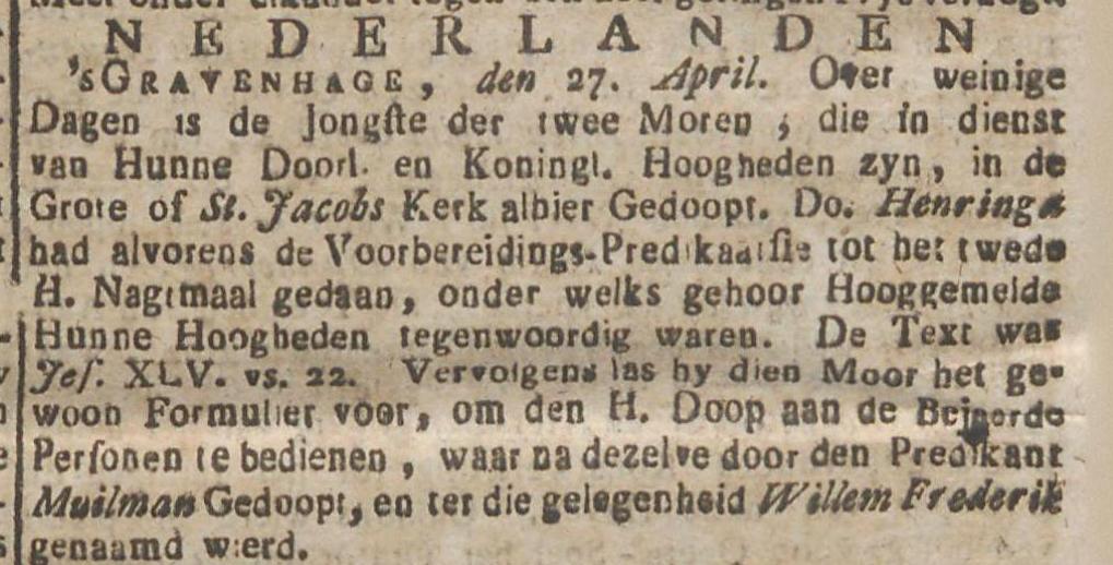 Doop Willem Frederik Cupido in de St Jacobs of Grote Kerk van Den Haag 1772