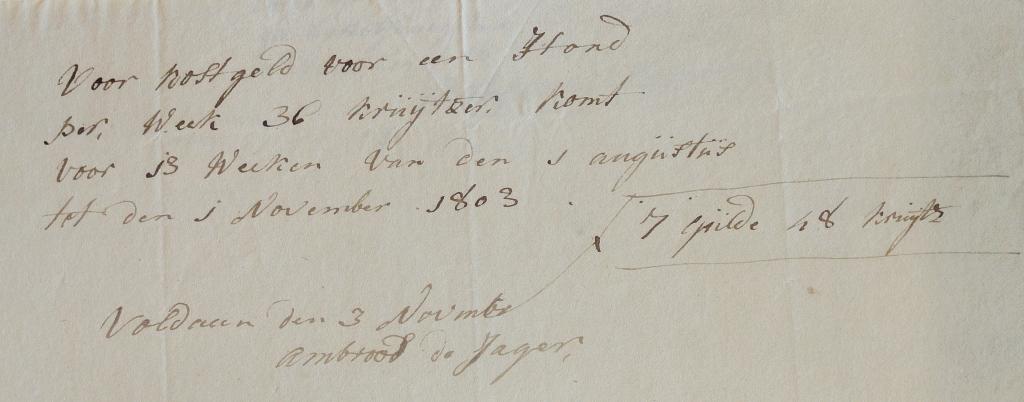1803 kostgeld voor hond Ambrosius de jager