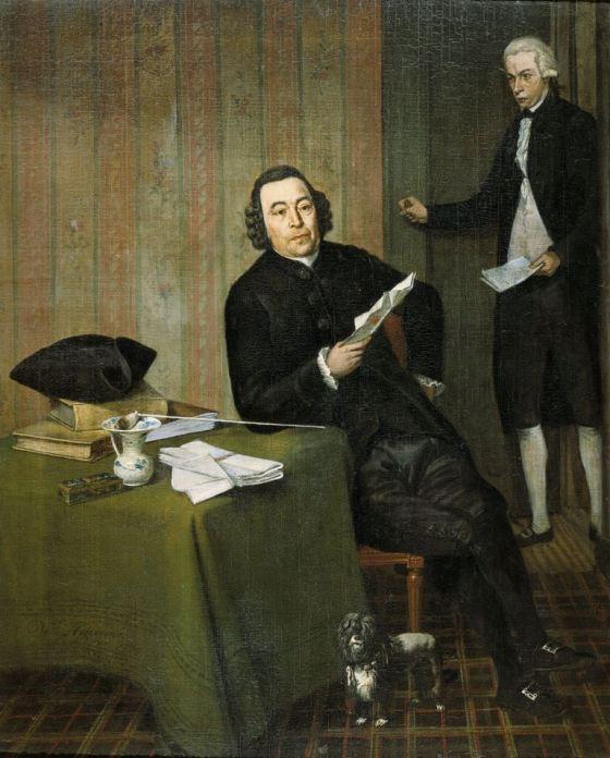 Wybrand Hendriks Wernerus Köhne notaris te Haarlem met zijn knecht Jan Bosch