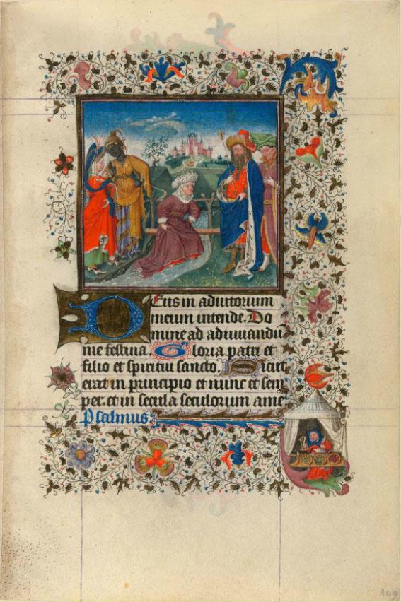 Getijdenboek van Katharina van Kleef, Morgan Library, M.917 p.109, De koningin van Sheba waadt door een beek omdat ze niet over de brug wil lopen die gemaakt is van het hout waaraan de messias zal gekruisigd worden.
