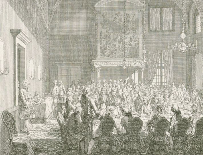 Feestmaal in de Schepenkamer voor Willem V en Wilhelmina van Pruisen, 1768, Simon Fokke, 1769 - 1773 RP-P-1944-2074
