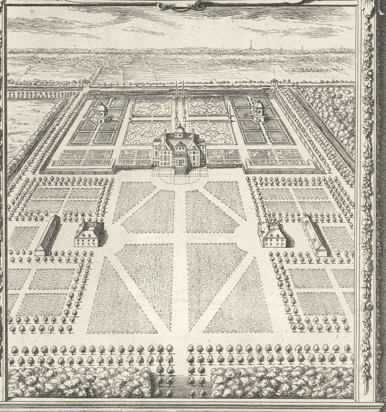 Paleis Huis ten Bosch in vogelvlucht, Jan Matthysz., naar Pieter Jansz. Post, 1655