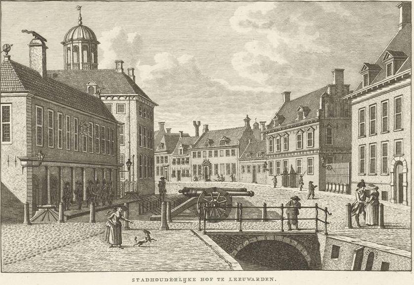 Stadsgezicht met Stadhouderlijk Hof te Leeuwarden, Carel Frederik Bendorp (I), naar Jan Bulthuis, 1786 - 1792 RP-P-1905-2824