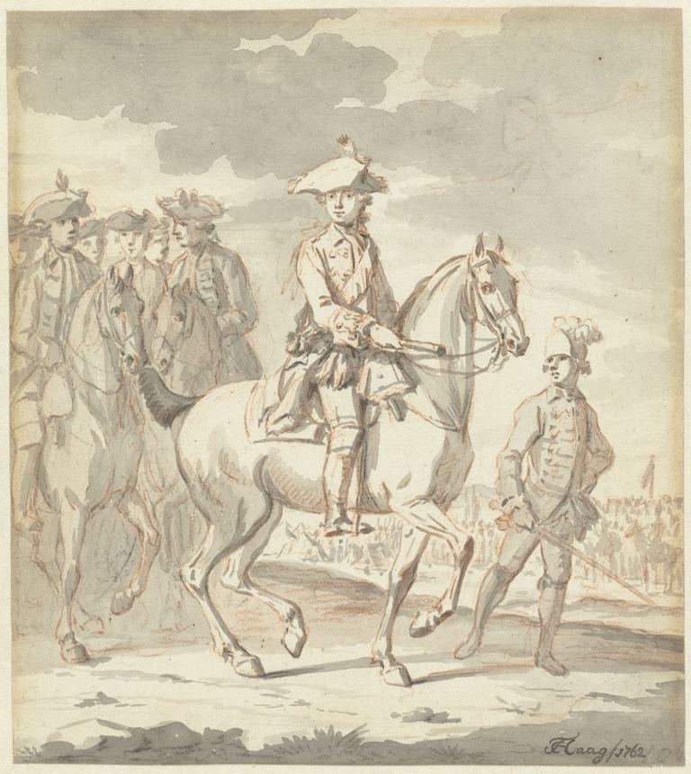 Tethart Philip Haag De jonge Prins Willem V te paard, met gevolg, 1762Rijksmuseum RP-T-1996-79