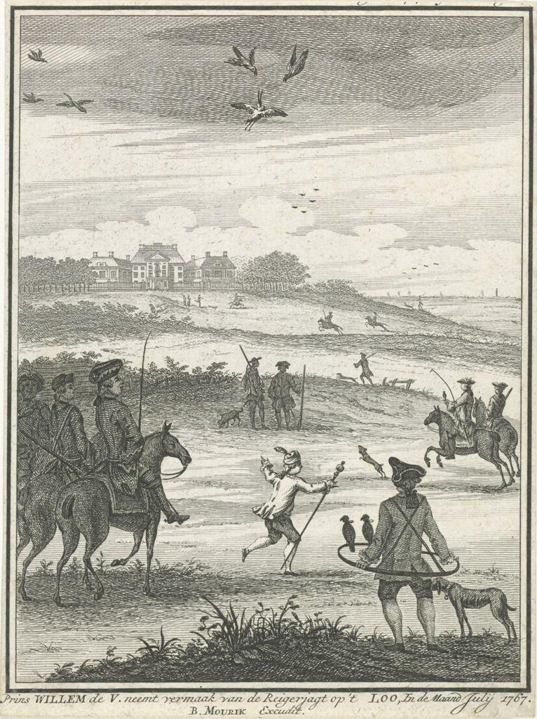 Willem V op reigerjacht bij het Loo, 1767, anoniem, 1767 RP-P-OB-84.664