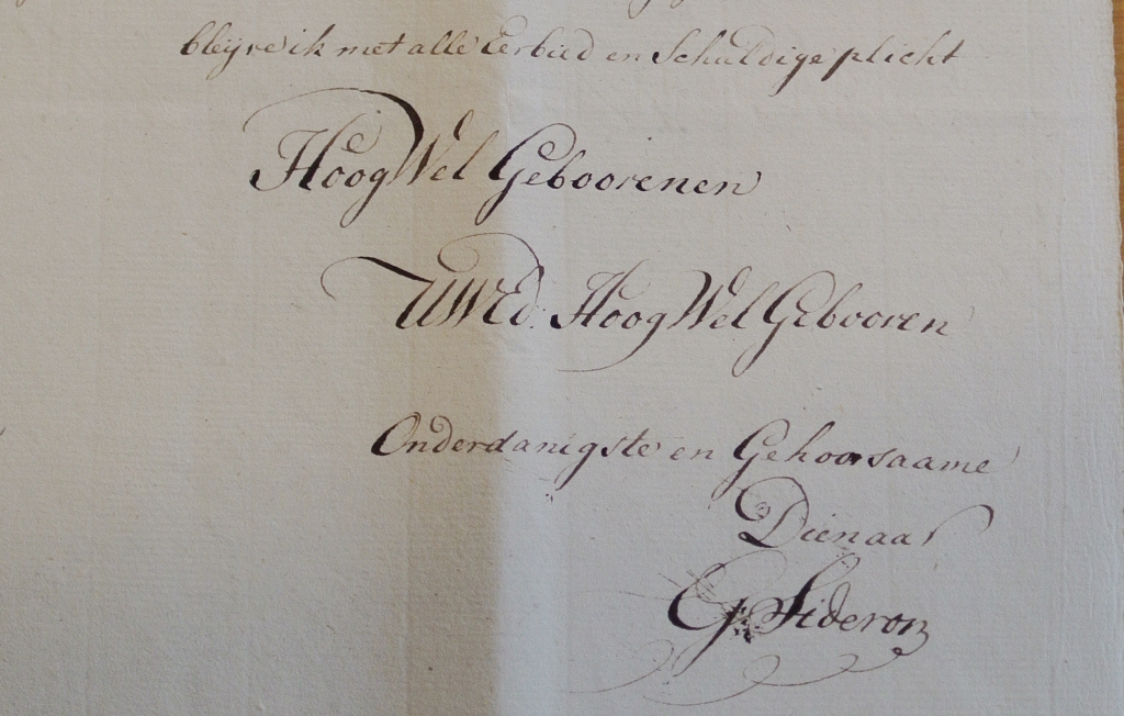 1794 Sideron brief detail ondertekening