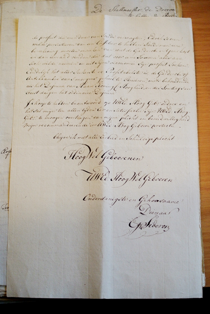 1794 Sideron brief ondertekening