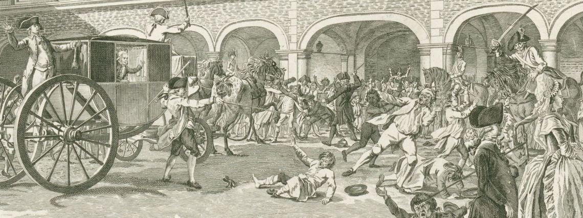 Ongeregeldheden als de Gedeputeerden van Dordrecht door de Stadhouderspoort rijden op het Binnenhof, 1786, Daniël Veelwaard (I), Dirk Schuurman, 1786
