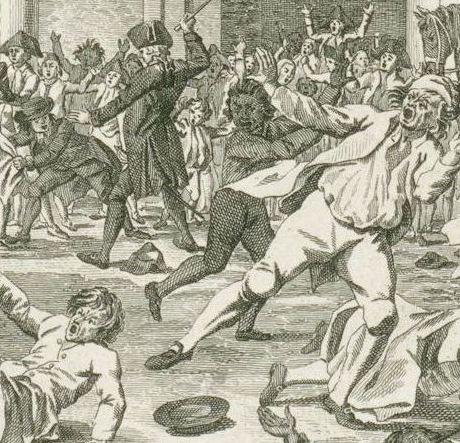 Ongeregeldheden als de Gedeputeerden van Dordrecht door de Stadhouderspoort rijden op het Binnenhof, 1786, Daniël Veelwaard (I), Dirk Schuurman, detail