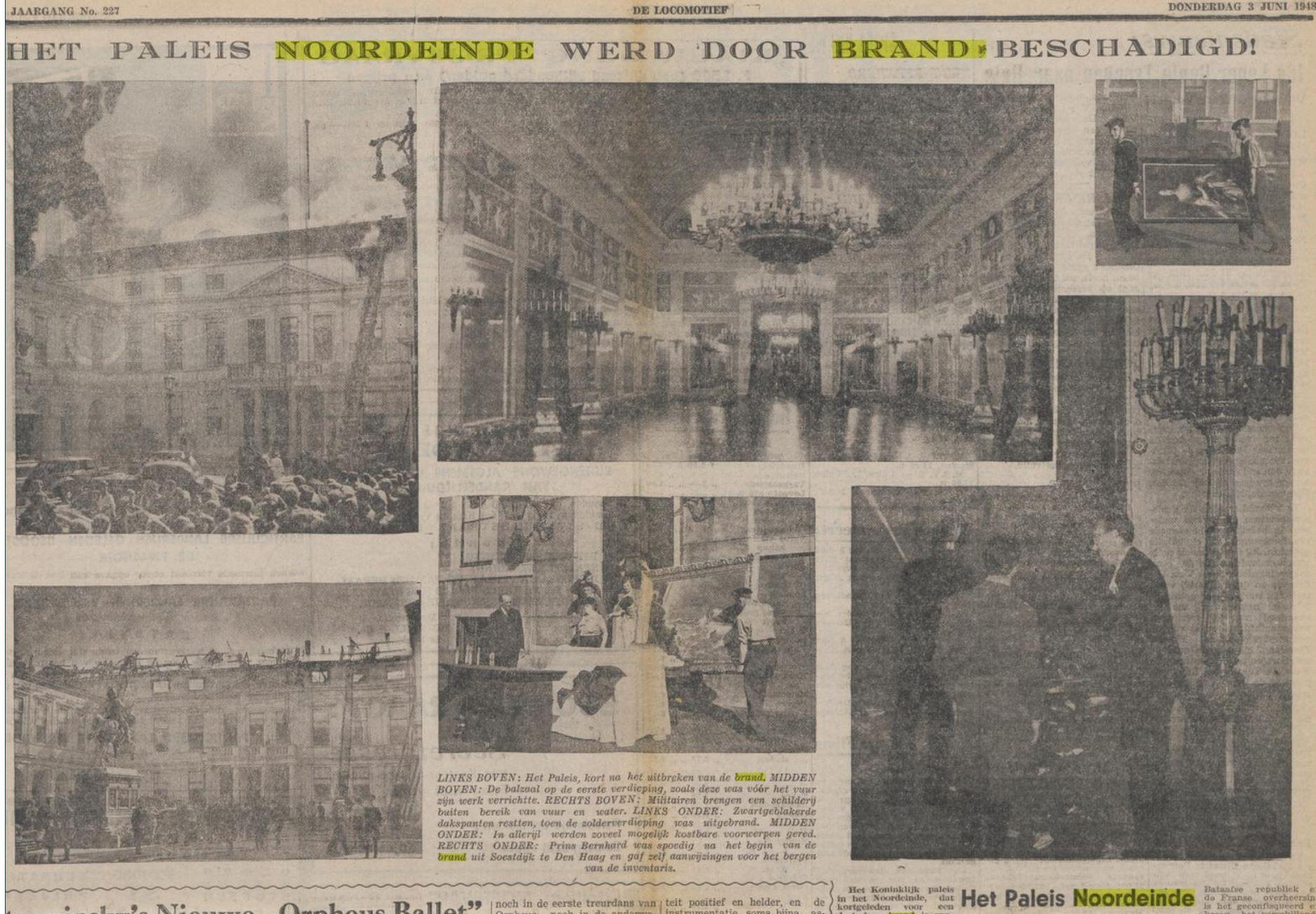 1948 Brand in Paleis Noordeinde meerdere foto's