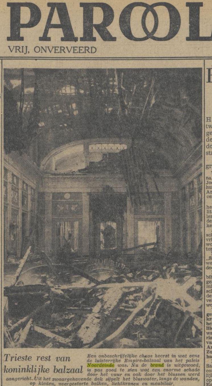 1948 Het Parool Brand in paleis Noordeinde