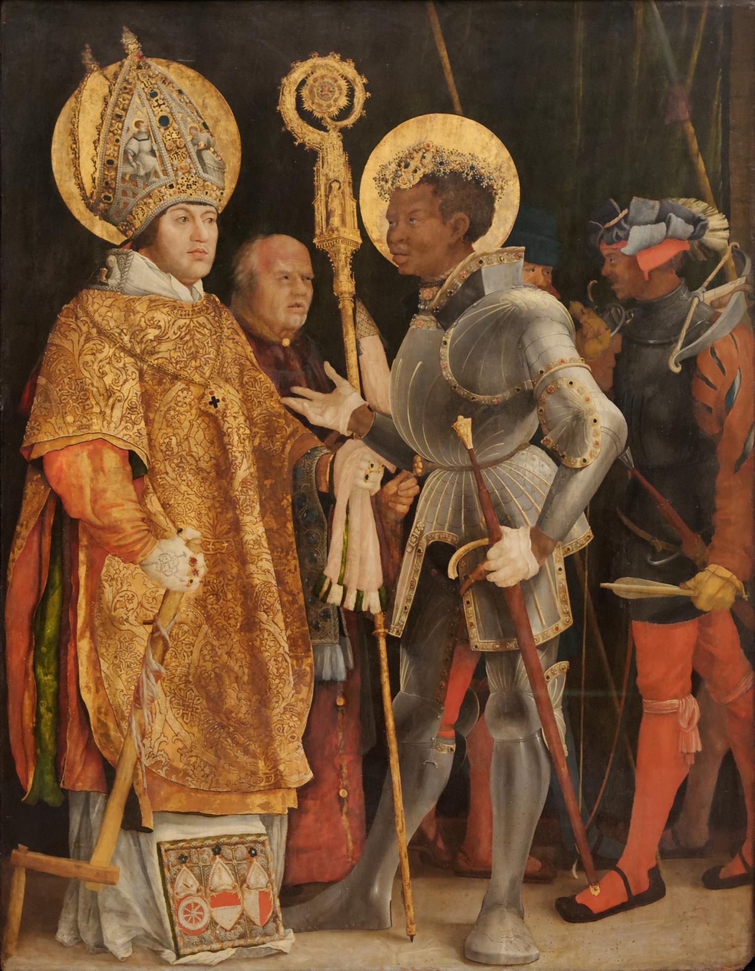 Begegnung des hl. Märtyrers Mauritius, des Anführers der thebaischen Legion, mit dem hl. Erasmus. Der hl. Mauritius war Patron des Stiftes und des Heiligen Römischen Reiches, der hl. Erasmus Patron des fürstlichen Hauses, dem Albrecht von Brandenburg entstammte. Erasmus trägt die Porträtzüge des Auftraggebers between circa 1520 and circa 1524, Alten Pinakothek