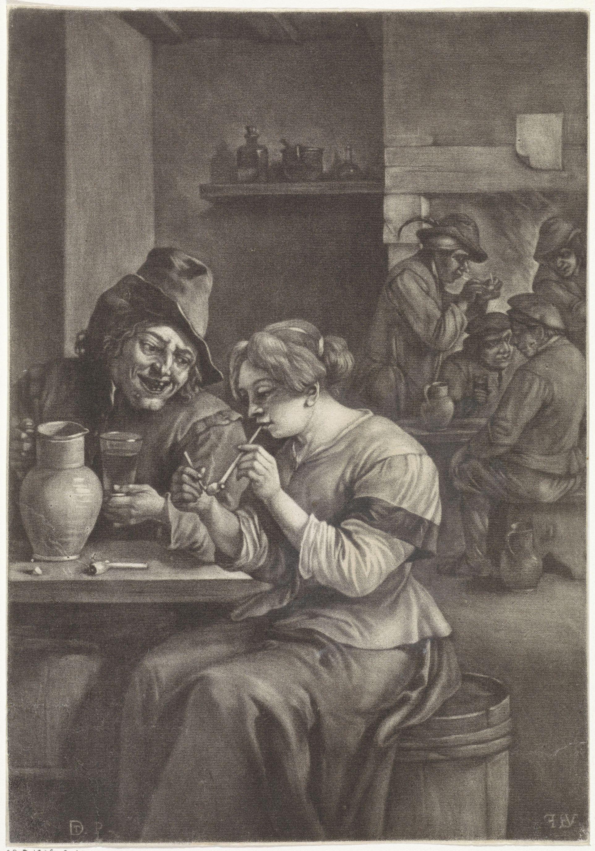 Vrouw steekt haar pijp aan, Jan van der Bruggen, naar David Teniers (II), 1659 - 1689 RP-P-1906-3040