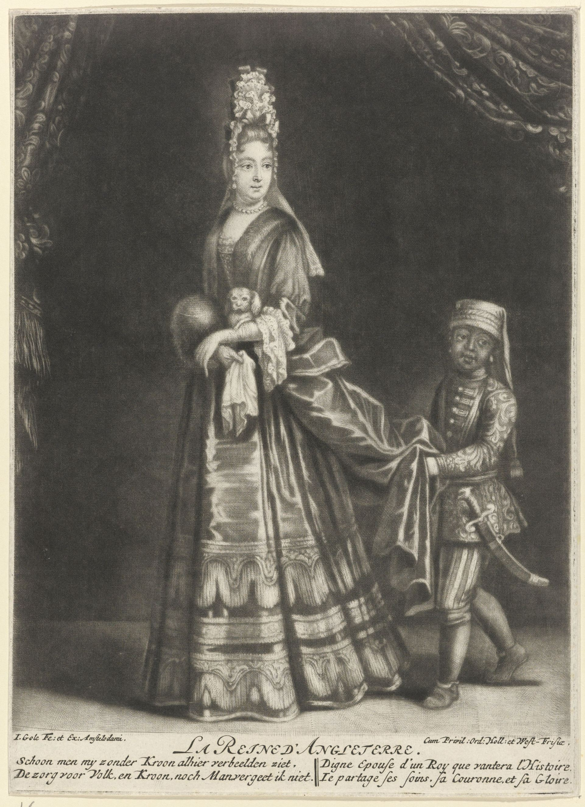 Portret van Maria II Stuart, Jacob Gole, 1688 - 1724 RP-P-1958-128