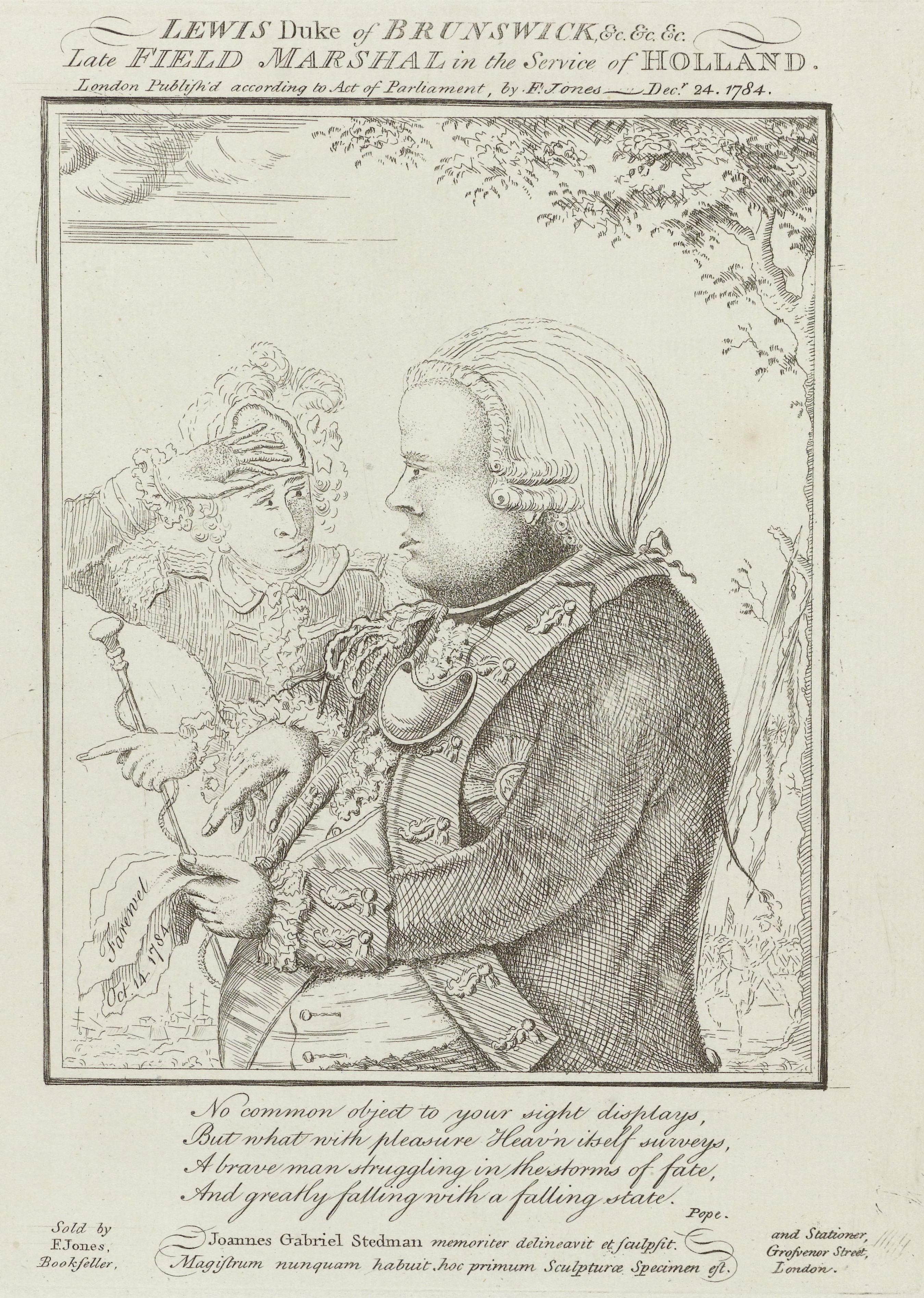 Spotprent op het vertrek van de hertog van Brunswijk uit Nederland, 1784, John Gabriël Stedman, 1784 RP-P-OB-85.362