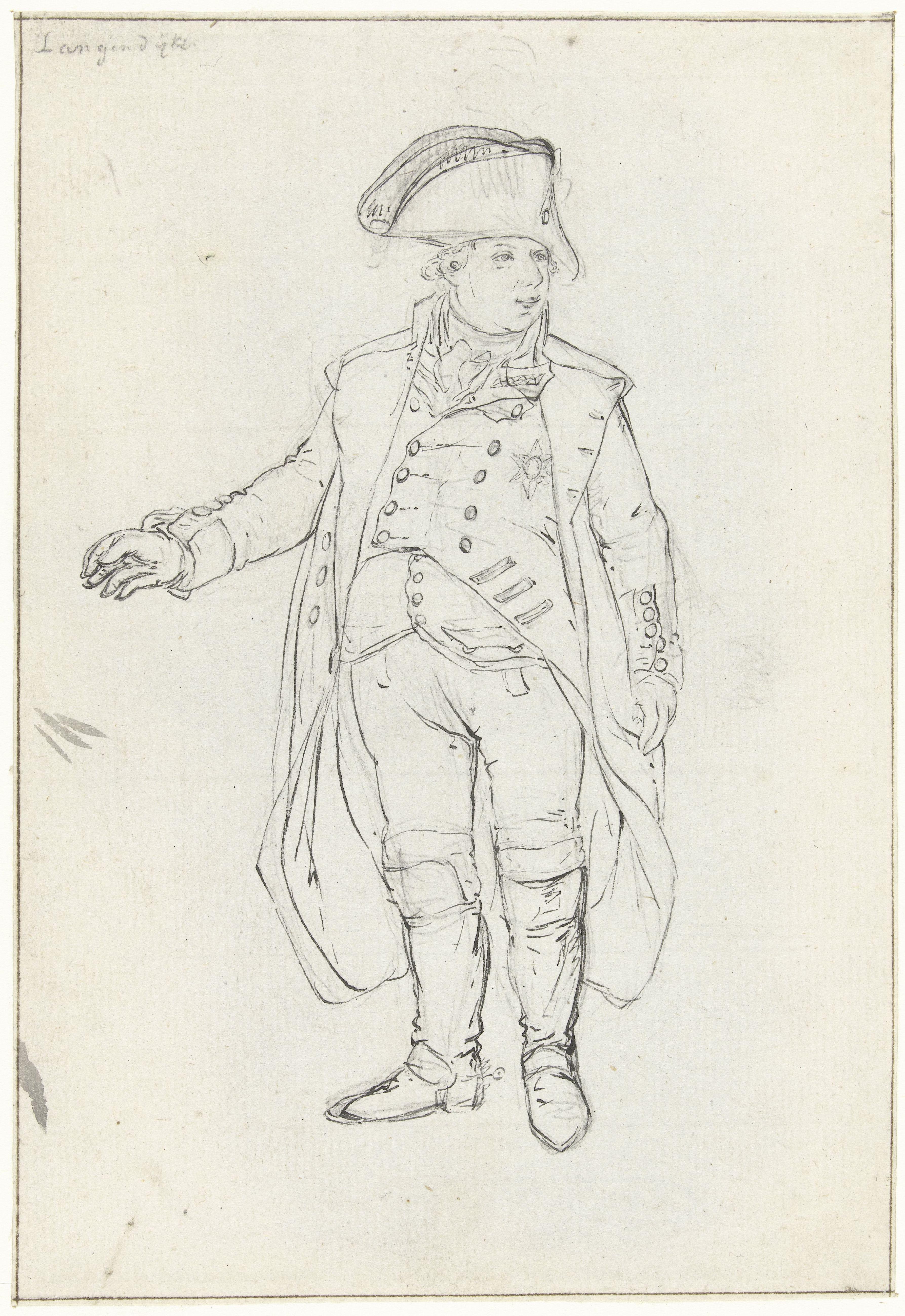 Studie voor het vertrek van Willem V naar Engeland, 18 januari 1795, Dirk Langendijk, 1795 RP-T-1888-A-1425