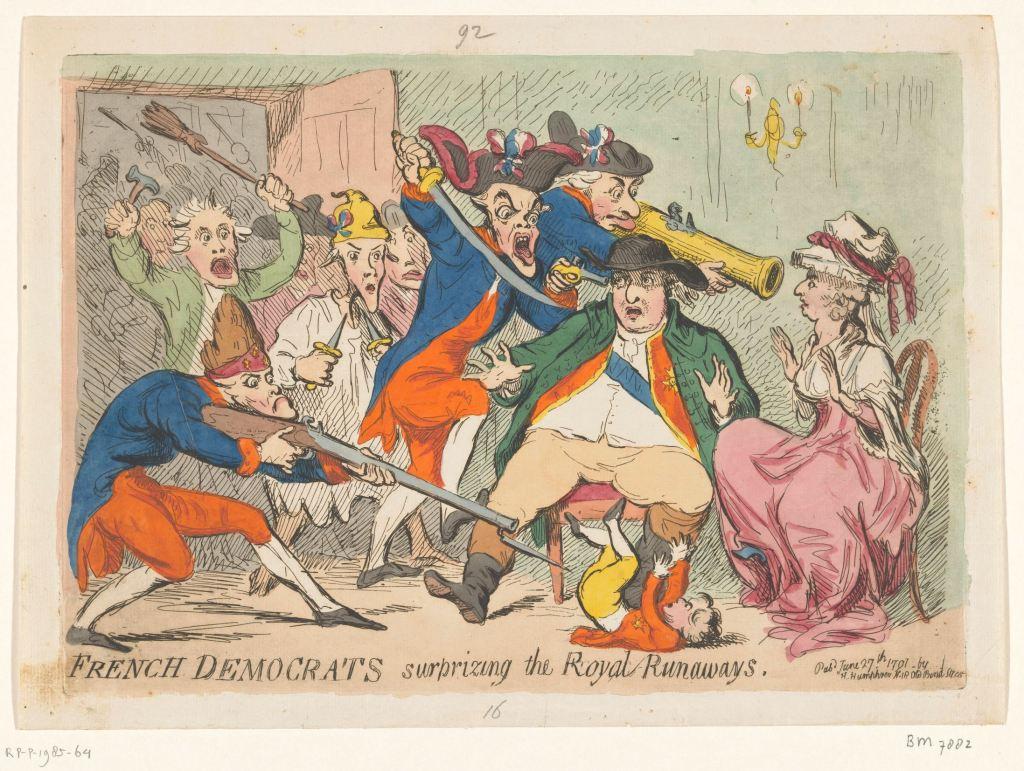 Lodewijk XVI en Marie Antoinette betrapt tijdens hun vlucht, 1791, James Gillray, 1791 RP-P-1985-64
