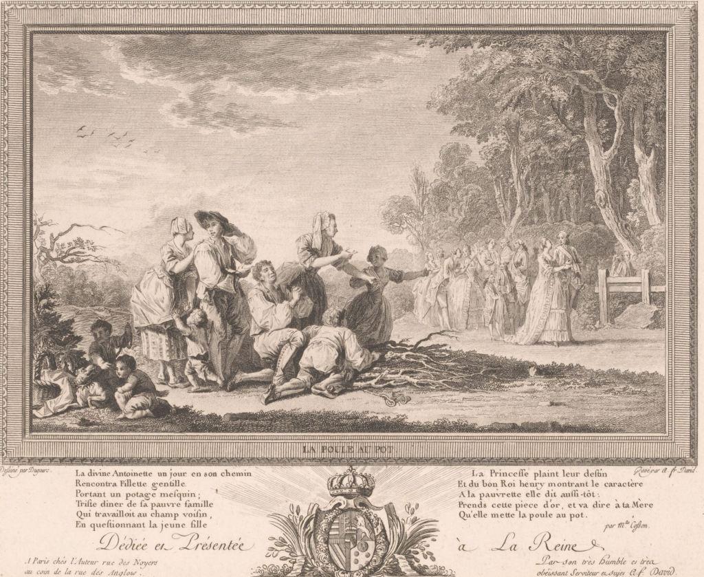 Smekende armen bij het voorbijkomen van koninklijke stoet, François Anne David, naar Jean Démosthène Dugourc, 1759 - 1793 RP-P-OB-63.790