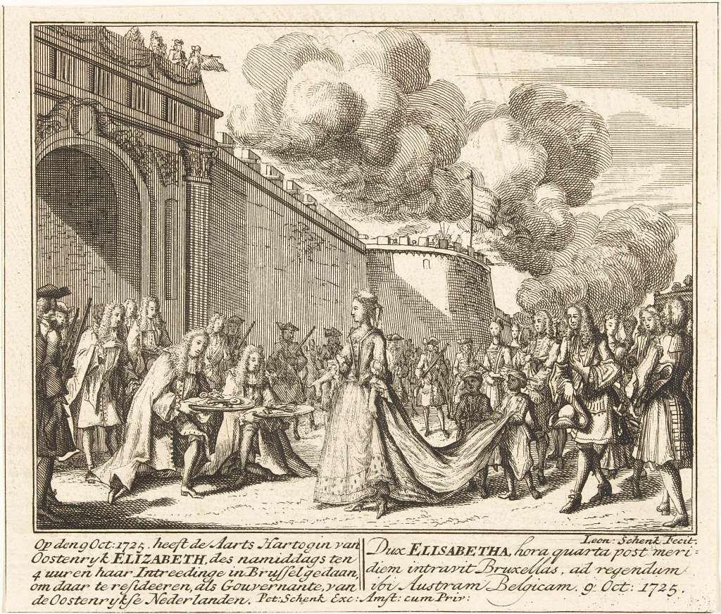 Leonard Schenk intrede Elizabeth van Oostenrijk in Brussel 1725 RP-P-OB-83.652