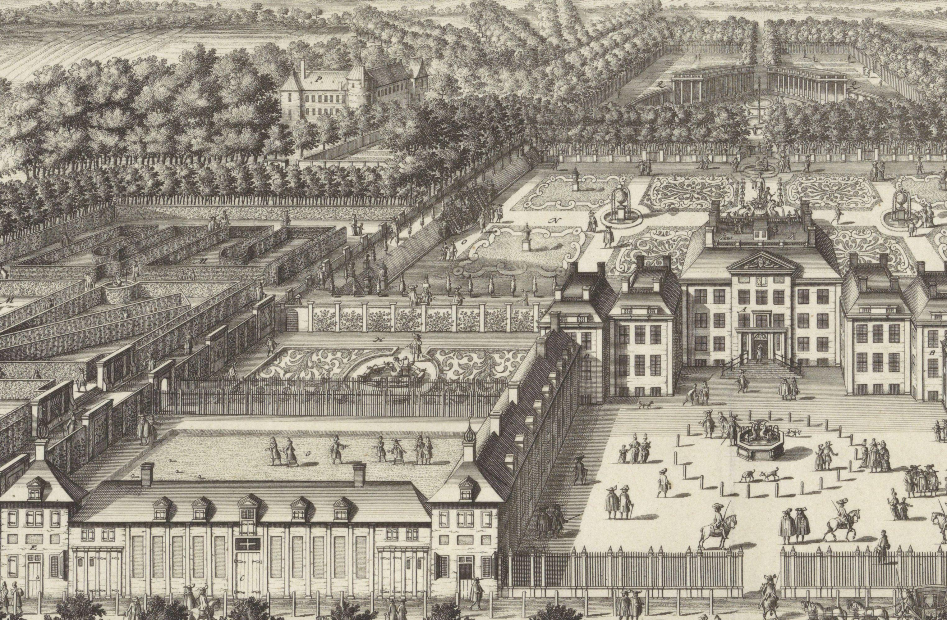 detail Gezicht op Paleis het Loo, links boven het Oude Loo, Bastiaen Stopendael coll Rijksmuseum